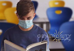 Teen Boy in Mask Reading a Book with Text